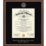 University of Missouri Williamsburg School of Medicine Gold Diploma Frame