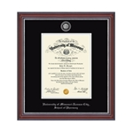 University of Missouri Kensington School of Pharmacy Brown Diploma Frame