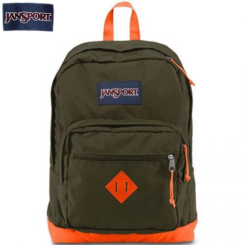 JanSport City Scout Green Machine & Fluorescent Orange Backpack
