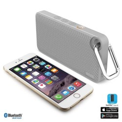 iLuv Aud Mini 6 Grey Carabineer Slim Portable Weather-Resistant Bluetooth Speaker for iPhone, iPad, and other Smart Devices
