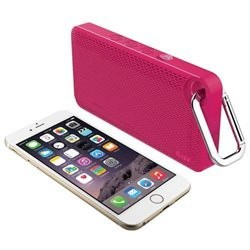 iLuv Aud Mini 6 Pink Carabineer Slim Portable Weather-Resistant Bluetooth Speaker for iPhone, iPad, and other Smart Devices