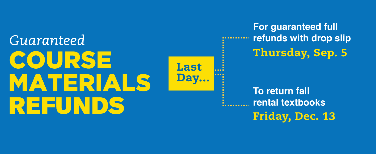 Last Day for full refunds with drop slip is September 5. To Return Fall rental textbooks is December 13
