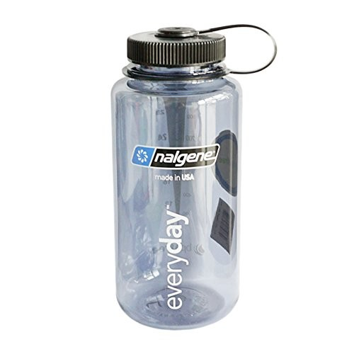 Nalgene Wide Mouth Tritan Grey Bottle with Black Lid