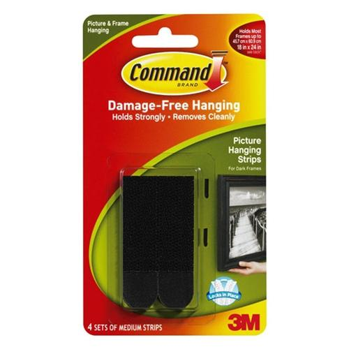 3M Black Medium Picture Hanging Strips Pack of 4