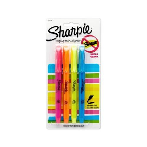 4 Pack Assorted Colors Pocket-Style Sharpie Highlighters