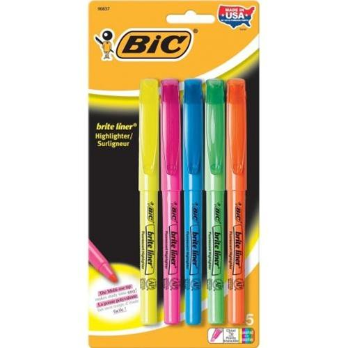 5 Pack Assorted Colors Brite Liner Highliters