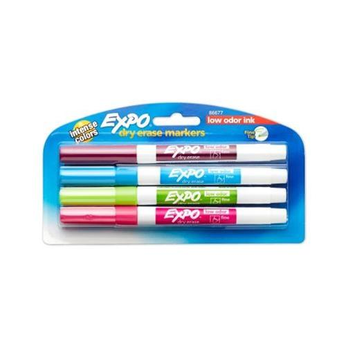 4 Pack Carribean Colors Expo Low Odor Dry Erase Pen-Style Markers