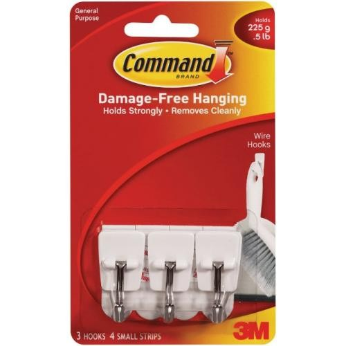 Command 3M White Adhesive Hooks 3 Pack White