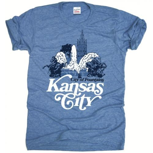 Kansas City Charlie Hustle City of Fountains Blue Crew Neck T-Shirt