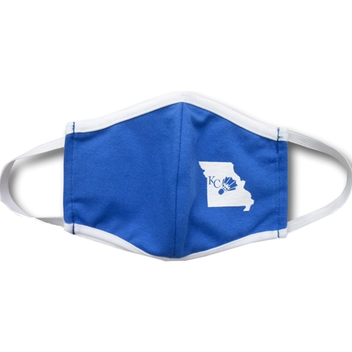 UMKC KC State Outline Shuttlecock Blue and White Face Mask
